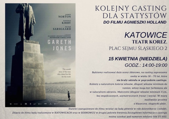 """KATOWICE 15.04 - KOLEJNY CASTING DLA STATYSTÓW DO FILMU A. HOLLAND - """"GARETH JONES"""" - 0"""