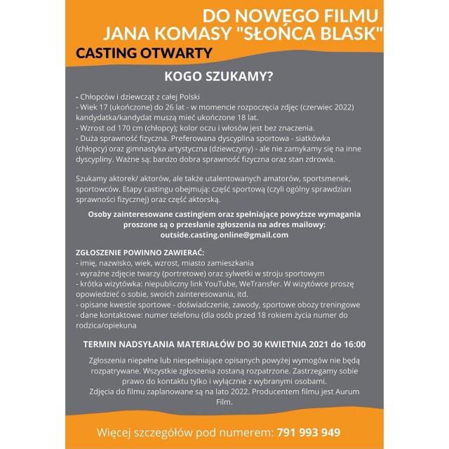 CASTING DO NOWEGO FILMU JANA KOMASY - 1