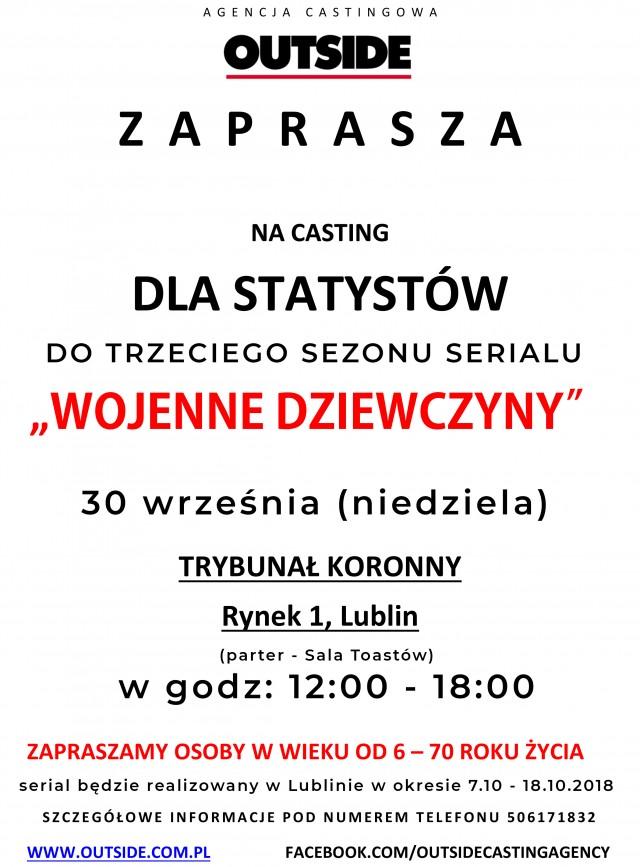 """""""WOJENNE DZIEWCZYNY"""" sezon trzeci - CASTING DLA STATYSTÓW W LUBLINIE"""